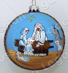 "Russian Legacy | Folk Art - Christmas Ornaments - ""Nativity"" Glass Christmas Ornament"