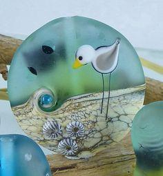 1 SEAGULL -BEAD -  artisan lampwork bead. Handmade by German glass artist Sabine Frank