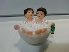Topo de bolo - Noivos na banheira