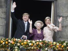 King Willem Alexander and Queen Maxima on their Inauguration Day together with Princes Beatrix