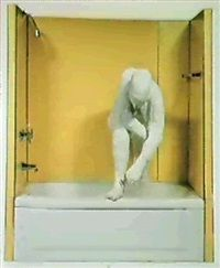 Woman standing in a bathtub by George Segal