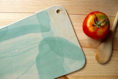 Tabla de gres Salvamanteles Tabla para quesos Esmalte turquesa clarito Aguamarinaa