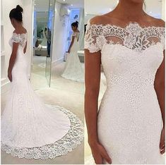 Unique Off The Shoulder Short Sleeves Lace Mermaid Wedding Dresses With Chapel Trailing, Hot Sale Wedding Dresses, Unique Off The Shoulder Short Sleeves Lace Mermaid Wedding Dresses Wit – Visionbridal. Lace Mermaid Wedding Dress, Wedding Dress Sleeves, Mermaid Dresses, Lace Dress, Tulle Lace, Lace Corset, Dress Prom, Prom Dresses, Wedding Dresses For Sale