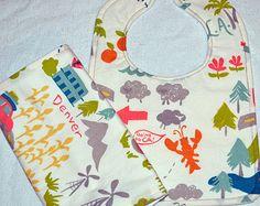 Baby girl/boy teething bib & burp cloth set - Birch fabrics - Next Stop, Mapped - road trip traveling fabric