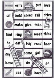 English worksheet: Irregular verbs - Snakes and ladders board game