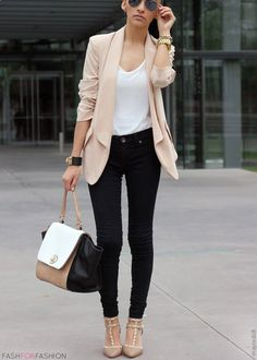 simple put together work outfit. H and M blazer, black jeans, nude heals, Nordstrom tank