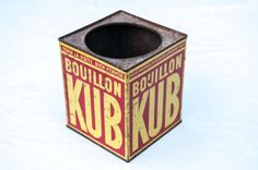 Boite de bouillon Kub vintage metallique15 €labrocantedeloncletony@gmail.com