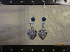 A14 Silver Heart with Blue and White Accent by ParadiseKreations