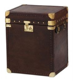 Chocolate Brown Small Brass and Leather Trunk - Made in England
