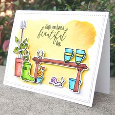 Coffee in the Garden scene card using Altenew Gareden Grow and Tea Time. Birthday Card Drawing, Birthday Cards, Altenew Cards, Coffee Images, Coffee Cards, Party Scene, Cards For Friends, Card Maker, Coffee Love