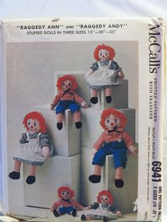 McCall's 6941 Raggedy Ann and Andy Dolls in Three Sizes