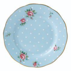 Polka Blue Vintage Plate 16cm