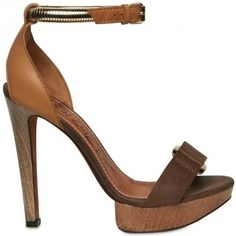 Lanvin leather-and-wood sandal