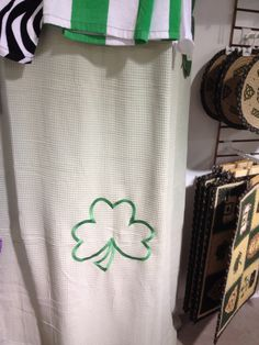 Shower curtain with shamrock