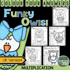 Five Colour By Code Funky Owls Multiplication Colour Your Answers Worksheets with Five Answer Keys Included!  Colour instead of Color and Grey instead of Gray in this UK Spelling Friendly Version. This math resource includes:* Five Multiplication Printables * Five Answer Keys  Our FUNKY SERIES - Students can't predict the answers and they love the colorful finished product they get to take home! #FernSmithsClassroomIdeas