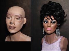 Restored 60's mannequin before & after