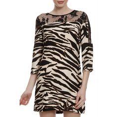 Vestido Manga Print Renda. #vestido #fashion #animalprint