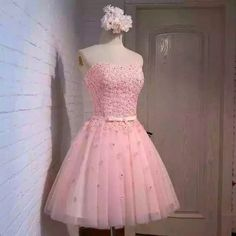 Strapless pink party dress