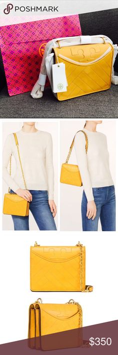 "⭐️New With Tags⭐️ Tory Burch Alexa Suede Bag ⭐️A brand new bag with tags.⭐️ Suede; Color : Yellow  Magnetic snap closure; Gold color chain Adjustable leather-and-chain strap with 23.31"" (58.5 cm) drop 2 exterior pockets with magnetic snap closures 1 interior zipper pocket Can be worn as a shoulder bag or cross-body Height: 7.57"" (19 cm) Length: 8.37"" (21 cm) Depth: 3.19"" (8 cm)  ✔️Comes with original packaging and dust bag ✔️Gift packaging included. ✔️ Listed product is original Tory Burch…"