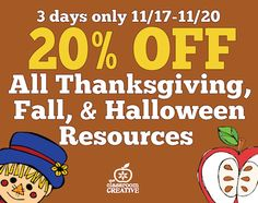 **SALE** What's 20% off????  ALL our #fall and #Thanksgiving resources now till 11/20!!! #tptsale