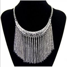 Chain fringe necklace Silver Tone with clear crystal accents Jewelry Necklaces