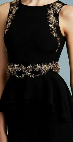 Black dress with accessories Hand Embroidery Dress, Couture Embroidery, Embroidery Fashion, Flower Embroidery, Elegant Dresses, Beautiful Dresses, Formal Dresses, Wedding Dresses, Couture Details