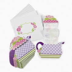 Tea Party Invitations (12) :  These lovely Tea Party Invites will set the scene for your next themed party!  set of 12 invitations (12.7cm)  & envelopes