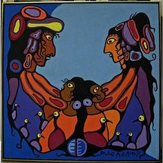 By Norval Morrisseau, THE FAMILY, Made of acrylic on canvas kp
