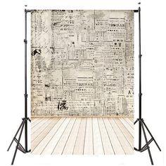 Vintage Newspaper & Wood Floor Photography Studio Backdrop
