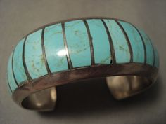 Advanced Stone Work Vintage Navajo Number 8 Turquoise Silver Bracelet