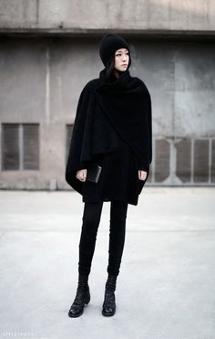 styletrove:  STYLED:  All black winter look. Sleek  chic.