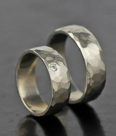 custom men's or women's modern unique wedding band set - faceted moissanite or diamond gold or platinum - gender neutral - his his hers hers