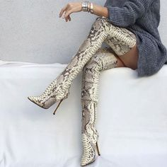 f190d91fbf7 Sexy Pointed Toe Stiletto Heel Serpentine Thigh High Boots