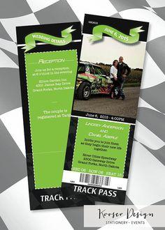 Race Car Ticket Wedding Invitation FREE SHIPPING by KooserDesign