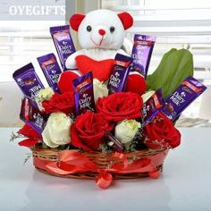 Buy Anniversary Flowers and Gifts online: Find quality of Marriage anniversary flowers online in India at OyeGifts. Send best wedding anniversary gifts online to your life partner. Cadbury Dairy Milk, Dairy Milk Chocolate, Cadbury Chocolate, Chocolate Basket, Chocolate Bouquet, Chocolate Gifts, Silk Chocolate, Birthday Gift Baskets, Birthday Gift For Wife