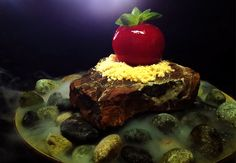 Strawberry Ice Cream Cheese Cake w/ Roasted Bell Pepper Jelly