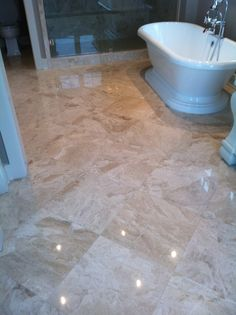 Master Bath 12x24 Royal Diana Marble Floor 3x12 Handmade