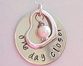 One day closer, Handstamped Jewelry, infertility Complete gift set. $32.00, via Etsy.