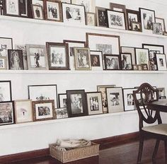 Love how shelves keep a gallery wall organized. India Hicks and David Flint Wood home in the Bahamas. Fill a couple of the Shelves in My Closet with Favorite Pix. Picture Ledge, Picture Shelves, Wall Shelves, Picture Frames, Photo Ledge, Wall Ledge, Photo Shelf, Build Shelves, Book Ledge