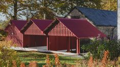 Rural Office for Architecture adds row of red gabled sheds to rural Welsh property Plastic Storage Sheds, Storage Shed Plans, Woodworking Yard Art, Woodworking Plans, Garbage Can Shed, Craft Shed, Cheap Sheds, Shed Doors, Outdoor Sheds