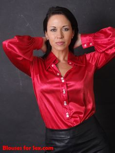 Red Satin, Silk Satin, Satin Bluse, Satin Shirt, Sexy Blouse, Business Look, Fashion Group, Beautiful Blouses, Classic Outfits