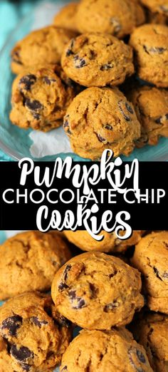 best-ever Pumpkin Chocolate Chip Cookies are soft, cake-like, cookies that are perfect for fall! Pumpkin Chocolate Chip Cookies, Chocolate Chip Oatmeal, Chocolate Chip Dessert, Healthy Pumpkin Cookies, Desserts With Chocolate Chips, Pumpkin Oatmeal Cookies, Pumpkin Pumpkin, Köstliche Desserts, Delicious Desserts