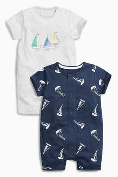 Buy Navy/Grey Boat Romper Two Pack (0mths-2yrs) online today at Next: United States of America