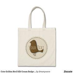 Cute Golden Bird Silk Cream Badge Baby Tote Budget Tote Bag