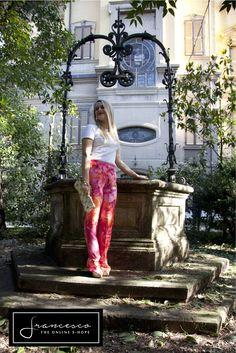 Versace pants, vintage print, like jennifer lopez dress