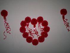 "Tissue paper pimpom flowers, a valentine decoration. ""Give Him a surprise"""