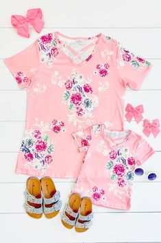 Shop discount children clothing, stay ahead of the fashion curve at the lowest prices from Sparkle In Pink. Mother Daughter Outfits, Mommy And Me Outfits, Little Girl Outfits, Cute Outfits For Kids, Future Daughter, Toddler Outfits, Corduroy Shorts, Criss Cross Top, Cute Headbands
