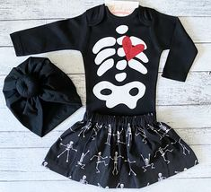 Baby Girl Skeleton Halloween Costume - Infant Halloween Costume - Toddler Skeleton Costume - Pumpkin Patch Outfit
