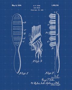 This is a print of the patent drawing for a hair brush patent in 1934. The original patent has been cleaned up and enhanced to create an attractive display piece for your home or office. This is a great way to put your interests and hobbies on display. Wonderful gift idea as well.  The image is printed on professional, acid free, archival matte fine art paper giving the image rich and vibrant colors. Prints are packaged in acid-free, moisture resistant sleeves, and shipped in rigid…