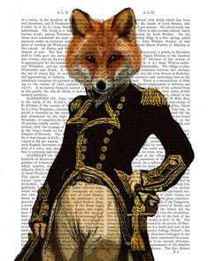 Admiral Fox - Poster Art Print Illustration Acrylic Painting fox print Animal Painting Wall Decor Wall hanging Wall Art gift for men man him by FabFunky on Etsy